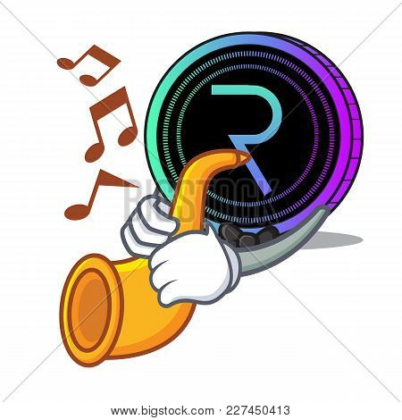 With Trumpet Request Network Coin Mascot Cartoon Vector Illustration
