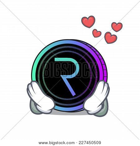 In Love Request Network Coin Mascot Cartoon Vector Illustration