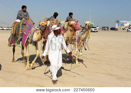 MESAIEED, QATAR - FEBRUARY 16, 2018: Local children enjoy a weekend camel ride at the Sealine resort area of Qatar.