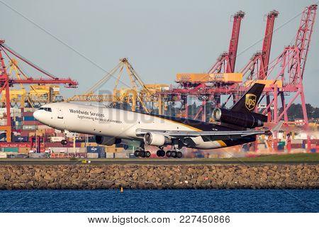 Sydney, Australia - May 5, 2014: United Parcel Service Mcdonnell Douglas Md-11 Cargo Aircraft Landin