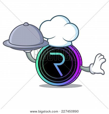 Chef With Food Request Network Coin Mascot Cartoon Vector Illustration
