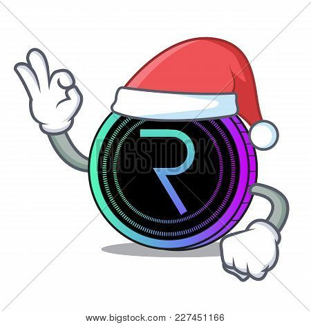 Santa Request Network Coin Mascot Cartoon Vector Illustration