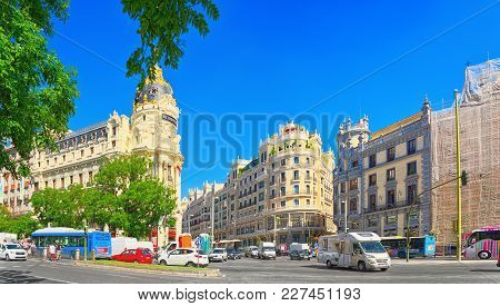 Gran Via Street In Madrid,at Day Time, Traffic, Car On Gran Via
