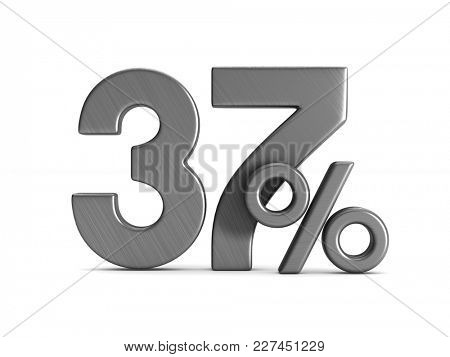 thirty seven percent on white background. Isolated 3D illustration