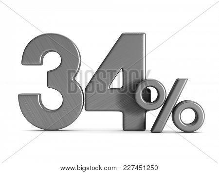 thirty four percent on white background. Isolated 3D illustration