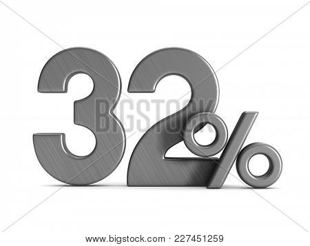 thirty two percent on white background. Isolated 3D illustration