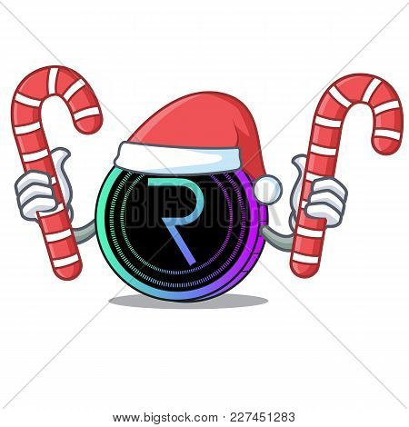 Santa With Candy Request Network Coin Mascot Cartoon Vector Illustration