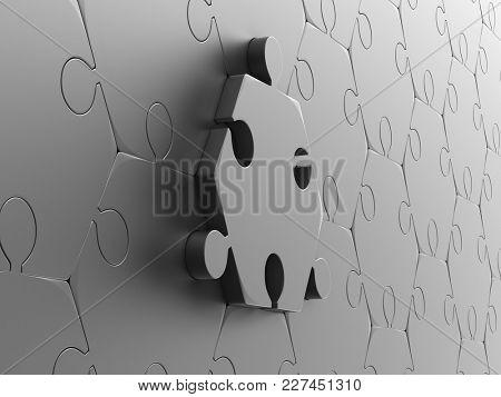 Metallic puzzle on white background. Isolated 3D illustration