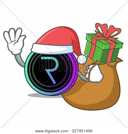 Santa With Gift Request Network Coin Mascot Cartoon Vector Illustration