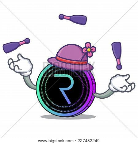 Juggling Request Network Coin Mascot Cartoon Vector Illustration