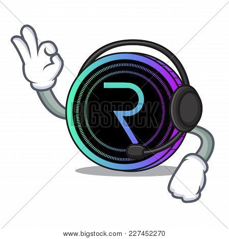 With Headphone Request Network Coin Mascot Cartoon Vector Illustration