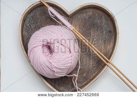 Love Knitting And Handmade. Hobby Suplies. Pink Cotton Wire Bobbin