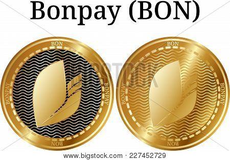 Set Of Physical Golden Coin Bonpay (bon), Digital Cryptocurrency. Bonpay (bon) Icon Set. Vector Illu