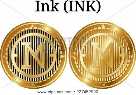 Set Of Physical Golden Coin Ink (ink), Digital Cryptocurrency. Ink (ink) Icon Set. Vector Illustrati