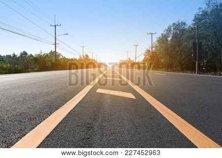 Road For Transportation On Road Concept,sunlight On Road