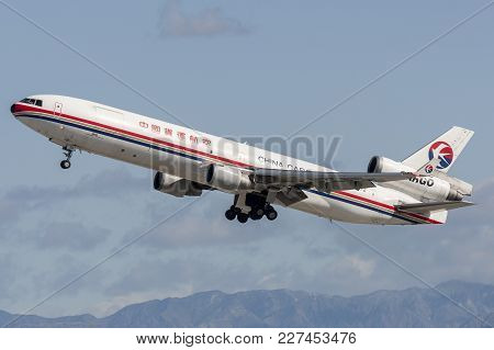 Los Angeles, California, Usa - March 10, 2010: China Eastern Airlines Cargo Mcdonnell Douglas Md-11