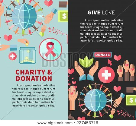Give Love Charity And Donation Promotional Vertical Posters Set. Financial And Humanitarian Help For