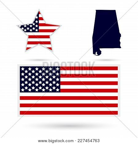 Set Of Icons Of American Map And Flag Alabama