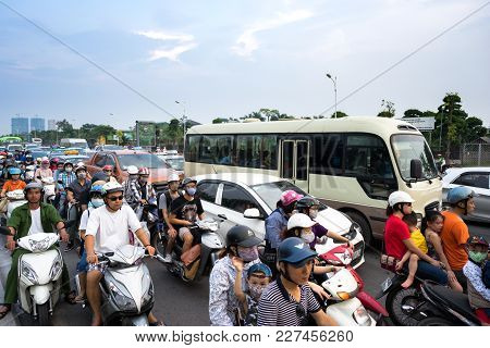 Hanoi, Vietnam - Sep 4, 2016: Cars And Motorcycles Stuck At Traffic Jam, Rush Hour In Co Linh Street