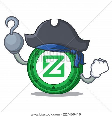 Pirate Zcoin Character Cartoon Style Vector Illustration