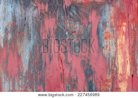Multicolored Grunge Wall, Highly Detailed Textured Background Abstract. Stains, Spray Paint. Fun Che