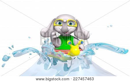 Happy Baby Elephant Swimming And Splashing In Water Isolated, 3d Rendering