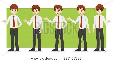 Set Of Business Characters Young Handsome Smart Businessman Standing Flat Design In Front View On Wh