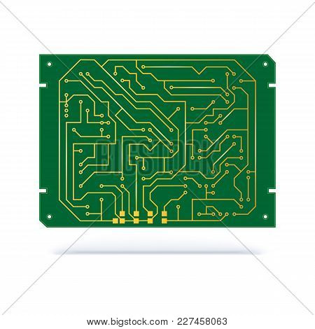 Digital Circuit Board Isolated On White. Copper Contacts On Green Textolite Board For Technology Bac
