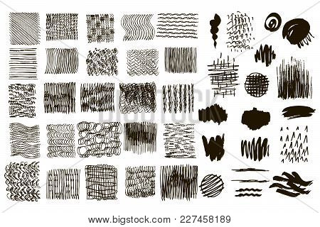 Big Set Of Vector Handdrawn  Texture .  Trendy Textures With A Jumble Of Lines, Zigzag,  Isolated.