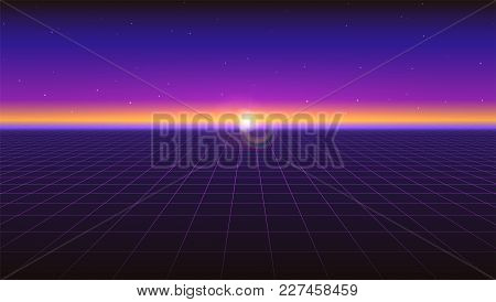Sci Fi Futuristic Horizontal Abstract Background. Violet Retro Gradient, Vintage Style Of The 80s. V