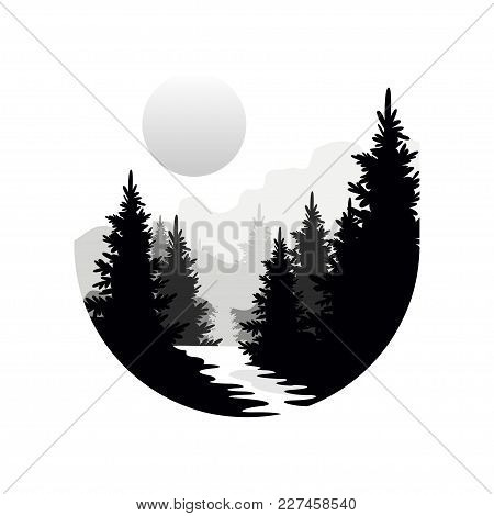 Beautiful Nature Landscape With Silhouettes Of Forest Coniferous Trees, Mountains And Sun, Natural S