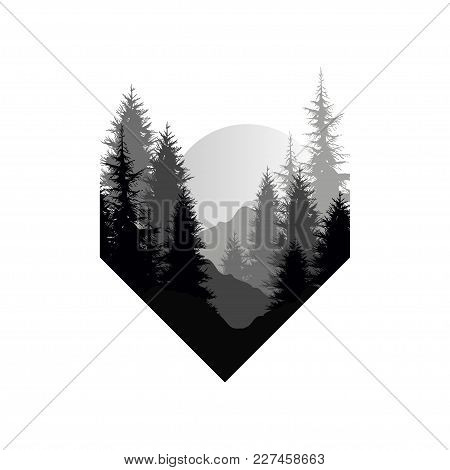 Beautiful Nature Landscape With Silhouettes Of Trees, Mountains, Sunset Of Big Sun, Natural Scene Ic