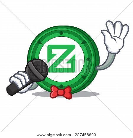 Singing Zcoin Mascot Cartoon Style Vector Illustration