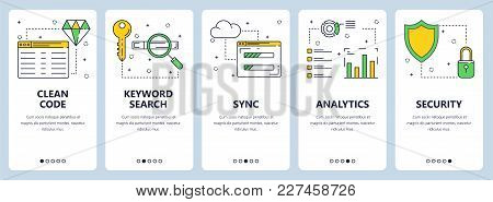Vector Set Of Vertical Banners With Clean Code, Keyword Search, Sync, Analytics, Security Website Te