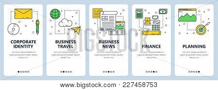 Vector Set Of Vertical Banners With Corporate Identity, Business Travel, Business News, Finance, Pla