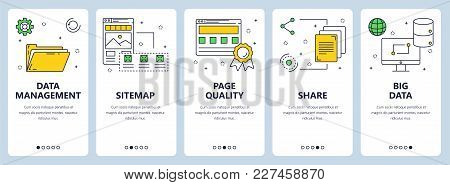 Vector Set Of Vertical Banners With Data Management, Sitemap, Page Quality, Share, Big Data Website