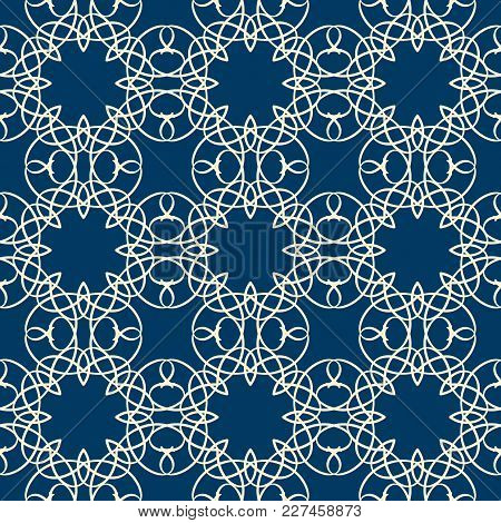 Lace Seamless Pattern With Intricate Ornament Composed Of White Line Squiggles On Blue Background Fl