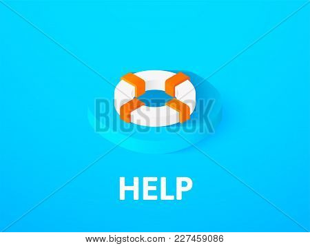 Help Icon, Vector Symbol In Flat Isometric Style Isolated On Color Background