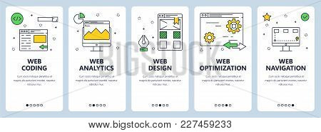 Vector Set Of Vertical Banners With Web Coding, Analytics, Design, Navigation And Web Optimization W