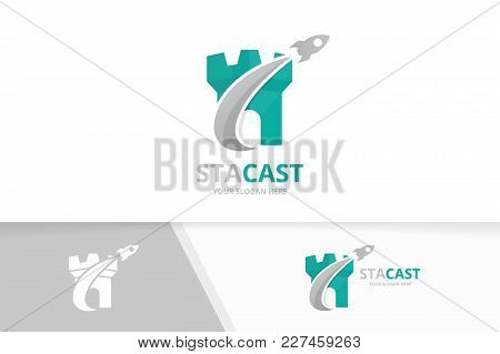 Vector Castle And Rocket Logo Combination. Tower And Airplane Symbol Or Icon. Unique Fortress And Fl