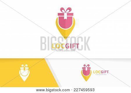 Vector Gift And Map Pointer Logo Combination. Present And Gps Locator Symbol Or Icon. Unique Surpris