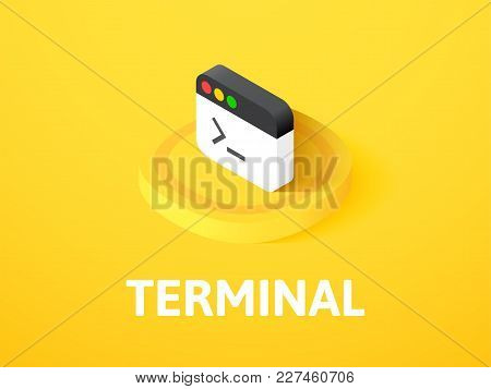 Terminal Icon, Vector Symbol In Flat Isometric Style Isolated On Color Background