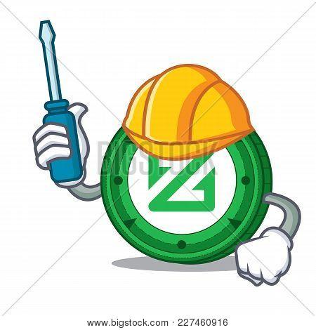 Automotive Zcoin Mascot Cartoon Style Vector Illustration
