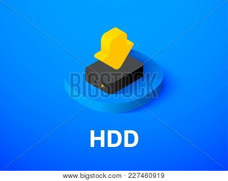 Hdd Icon, Vector Symbol In Flat Isometric Style Isolated On Color Background