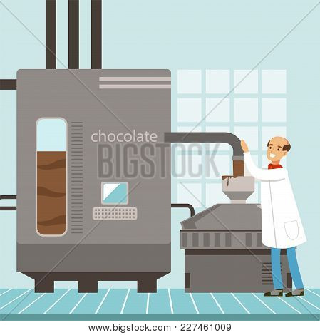 Machine For The Production Of Chocolate, Confectioner Controlling The Production Process Vector Illu