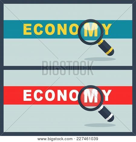 Illustration Of Economy Word With Magnifier Concept