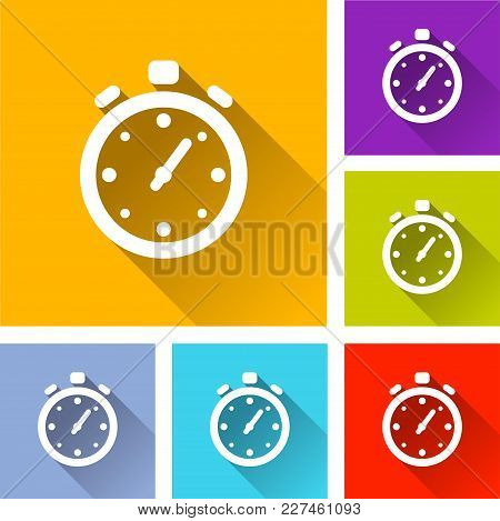 Illustration Of Stopwatch Icons With Long Shadow