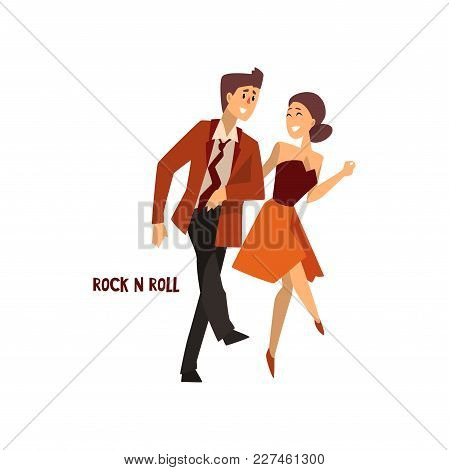 Professional Dancer Couple Dancing Rock And Roll, Pair Of Young Man And Woman Dressed In Elegant Clo
