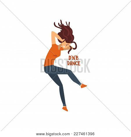 Girl Dancing Drum And Bass Dance Vector Illustration Isolated On A White Background.