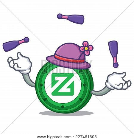 Juggling Zcoin Mascot Cartoon Style Vector Illustration
